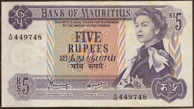 Mauritius 5 Rupees 1967 P# 30c