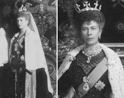 Queen Alexandra (left) and Queen Mary (right) wearing Cullinans I and II in a brooch setting