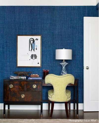 Rooms With Grasscloth Wallpaper: Chinoiserie Chic: Navy Grasscloth