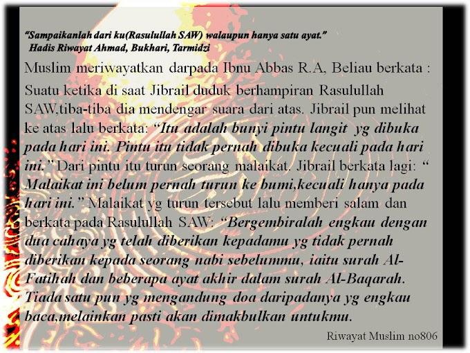 Kelebihan doa surah Al Fatihah dan Dua ayat akhir Surah Al Baqarah
