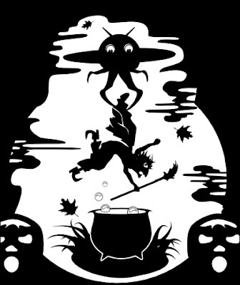 UFO alien vs witch being dropped in a cauldron by Robert Aaron Wiley for Halloween lantern #4 by Bindlegrim