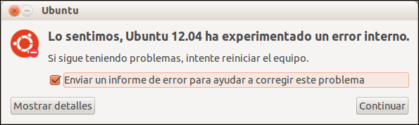 Eliminar mensaje de error interno en Ubuntu 12.04 LTS, error interno ubuntu solucionar