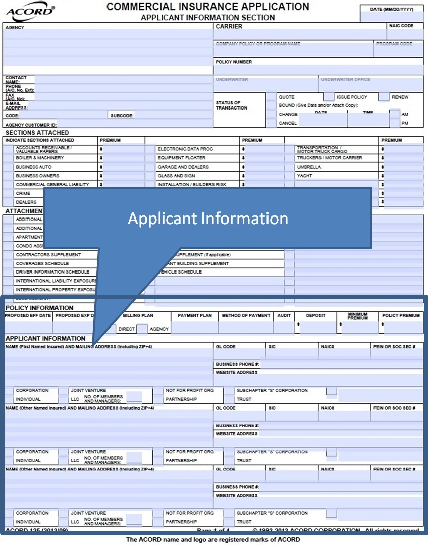 Simply Easier Acord Forms Acord 125 How To Complete The Applicant