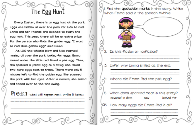 1st grade reading comprehension worksheets main idea