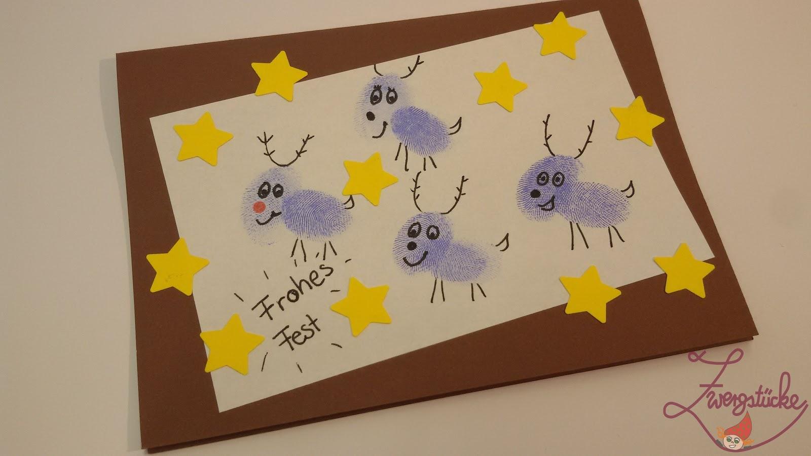 Zwergst cke basteln weihnachtskarten mit kindern gestalten for Weihnachtskarten mit kindern basteln