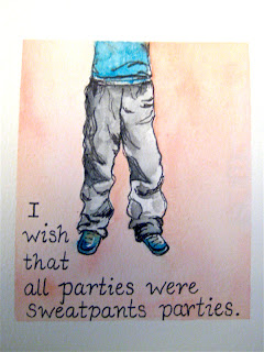 watercolor painting, party, sweatpants