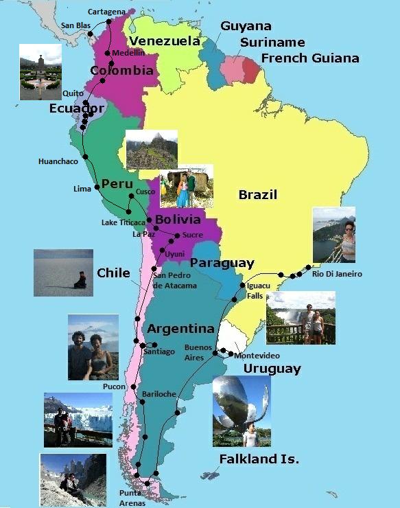 mylesawaywithkizzy – South America Travel Map