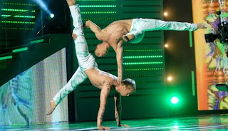 hand to hand acrobats by ArtVan Duo. Ukraine got talent show