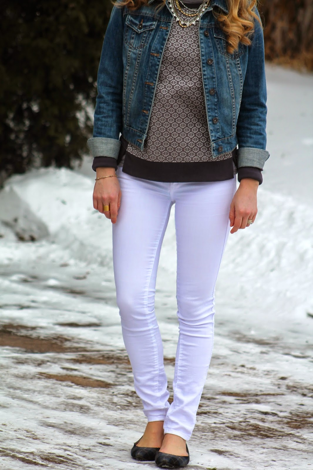 denim jacket, Loft sweatshirt, and white jeans