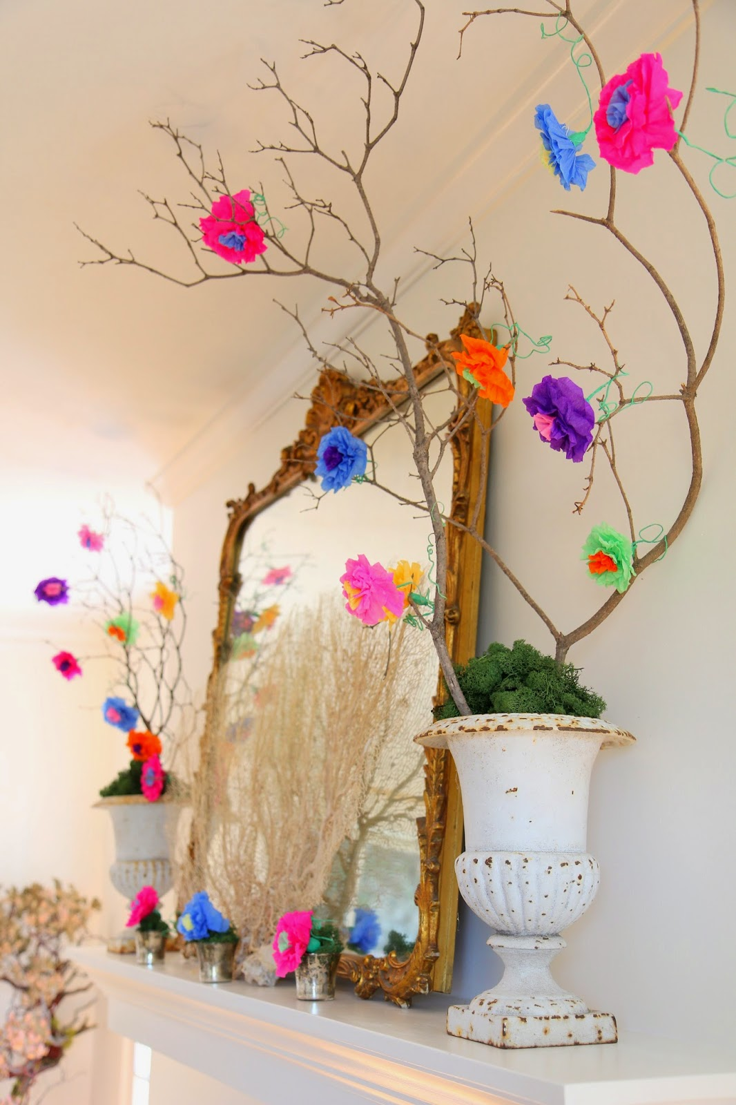 Mexican Crepe-Paper Flowers; Cinco De Mayo Mantle Decor -- Nora's Nest