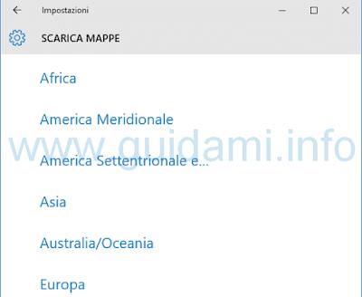 Windows 10 Mappe seleziona continente