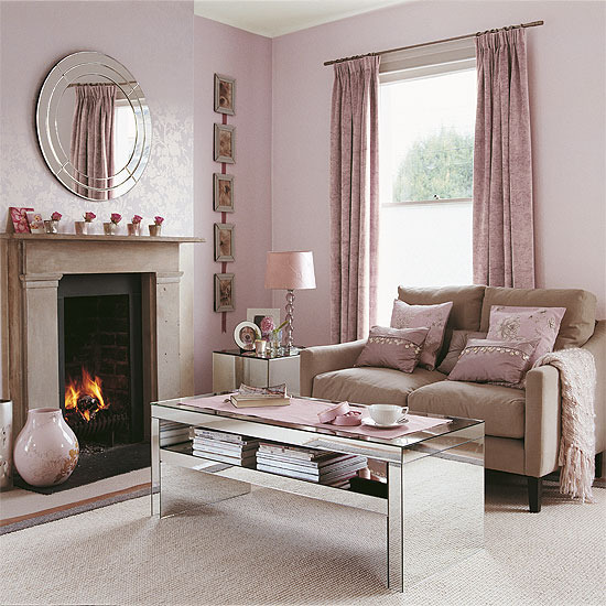 New home interior design modern living room collection 2 for Pink living room wallpaper