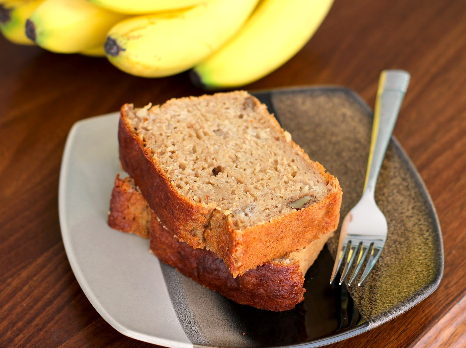 Healthy Whole Wheat Banana Bread Pound Cake (refined sugar free, low fat, high protein, high fiber)