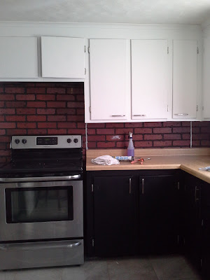 white black tuxedo kitchen painted faux brick