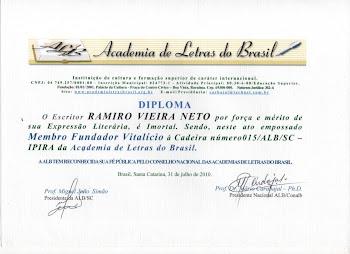 Diploma Membro Fundador Vitalício à Cadeira Número !5 na Academia de Letras do Brasil...
