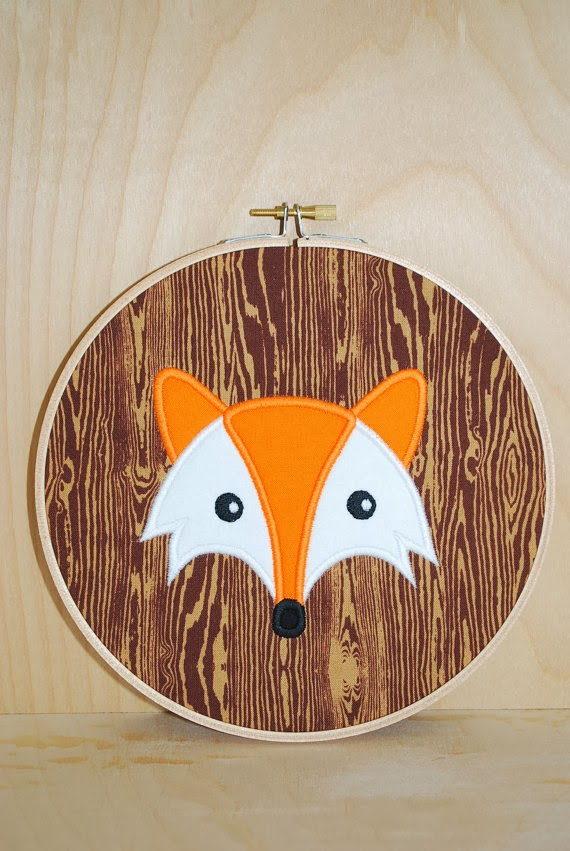 Woodland Fox . Embroidery Hoop Art . Ready To Ship brown orange nursery wall art home decor