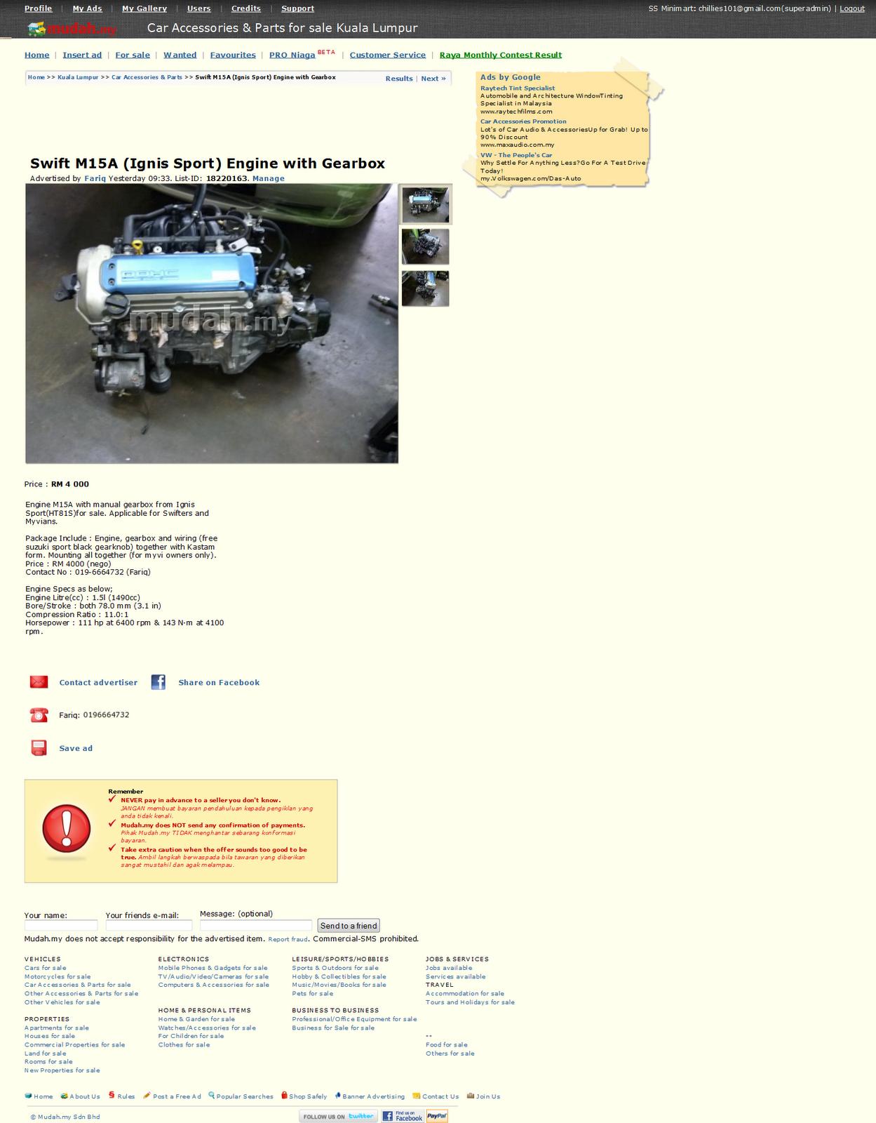 Halfcut engine gearbox in mudah my