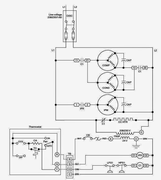 electrical wiring diagrams for air conditioning systems part one rh electrical knowhow com wiring diagram for hvac capacitor wiring diagrams for hvac thermostats