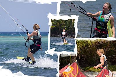 Patin Mona beim Kitesurfing