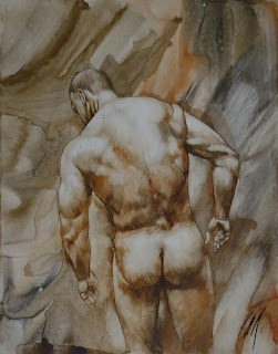 MALE DRAWING ART BLOG : CHRIS LOPEZ DRAWING AND PAINTING WATERCOLOUR  ON PAPER 2010