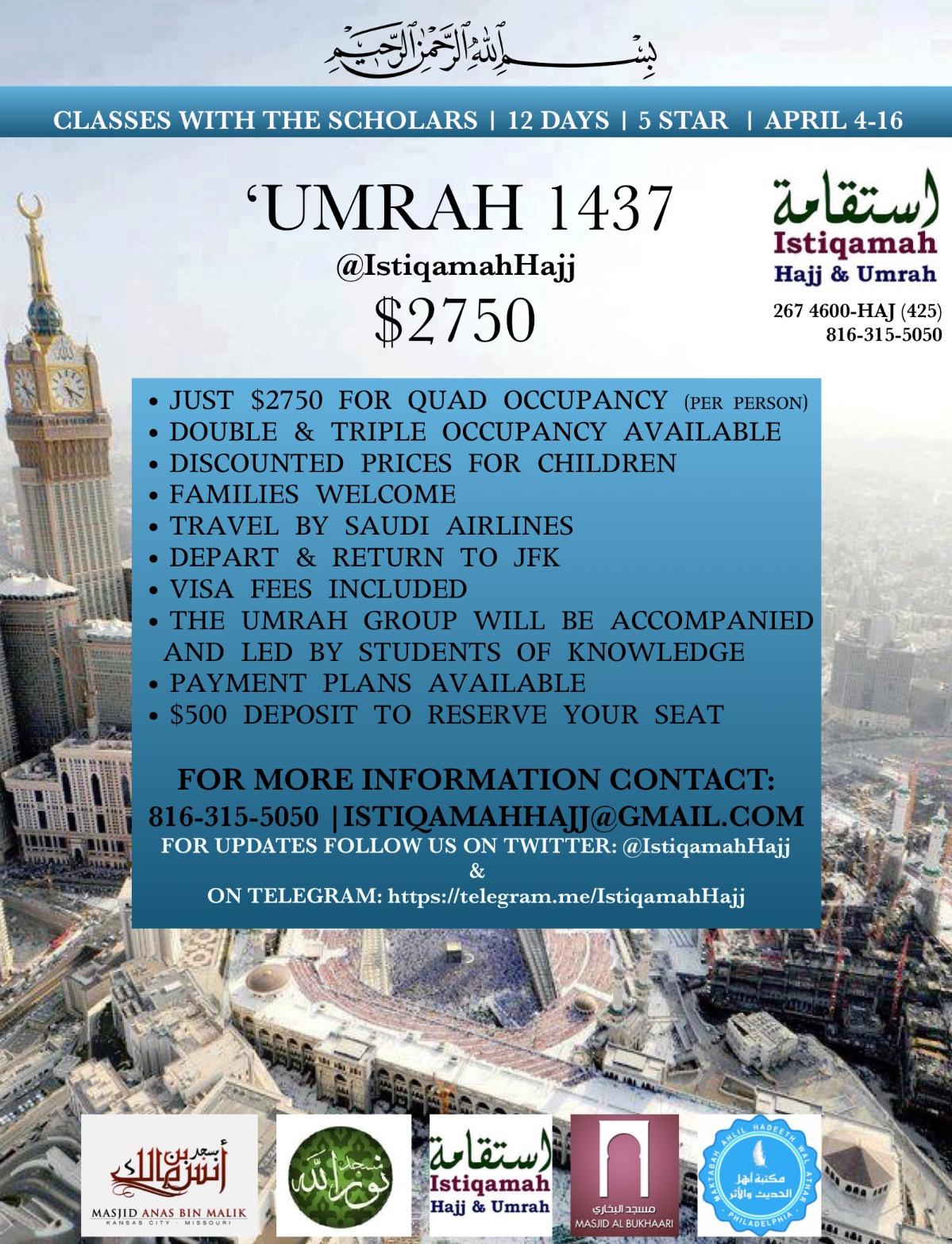 'Umrah 1437 with Istiqamah Hajj