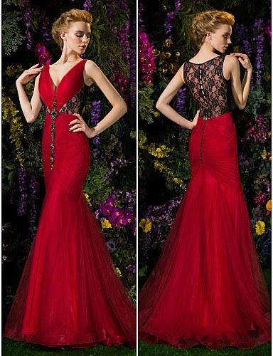 Vestido de Noche Rojo Sirena con Espalda Transparencias
