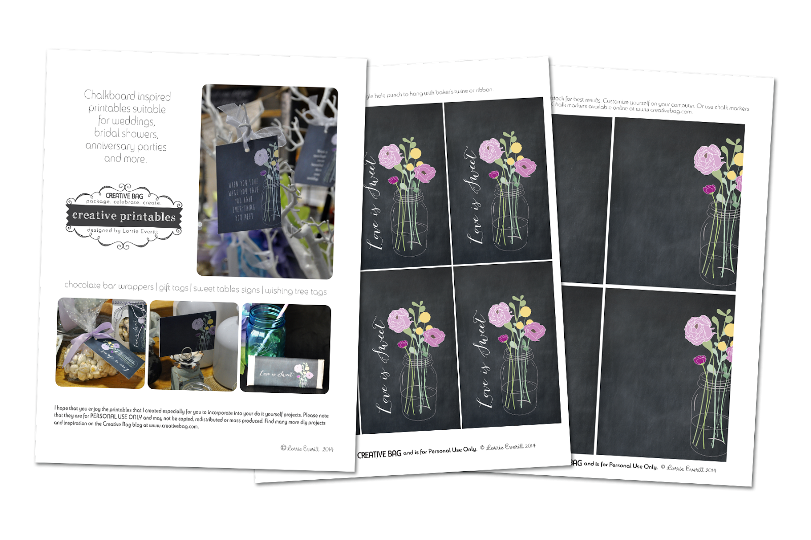 free printables for paper bows and chalkboard inspired gift tags from Lorrie Everitt