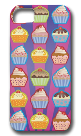 Lotsa Cupcakes Purply Blue Stripes iPhone 5 Case