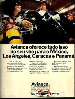 propaganda avianca de 1973. 1973; os anos 70; propaganda na década de 70; Brazil in the 70s, história anos 70; Oswaldo Hernandez;