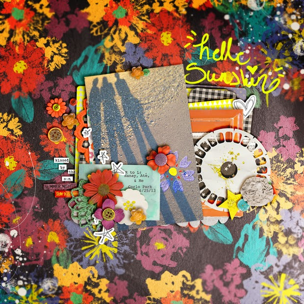 Hello Sunshine // Scrapbook Layout // 12x12 // Sun Kissed by Jenn Barrette + Valorie Wibbens
