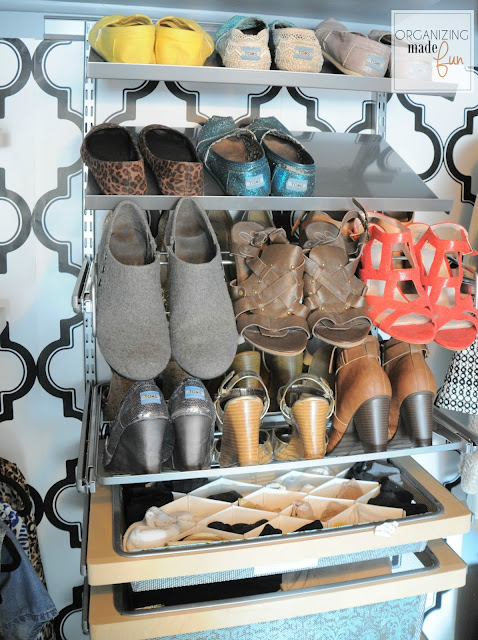 Pop of wallpaper and shoe drawers and shelves in the master closet :: OrganizingMadeFun.com