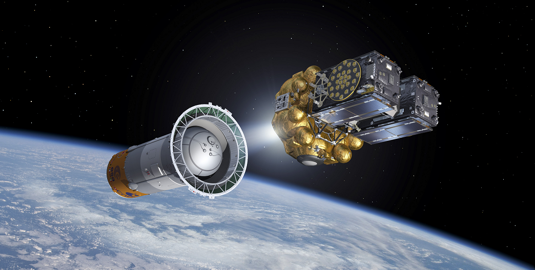 Artist's view of the fifth and sixth Galileo satellites on their Fregat upper stage separating from the Soyuz upper stage, some 9 minutes and 23 seconds after launch. The Fregat flew them the rest of the way up to medium-Earth orbit. Credit: ESA–J. Huart