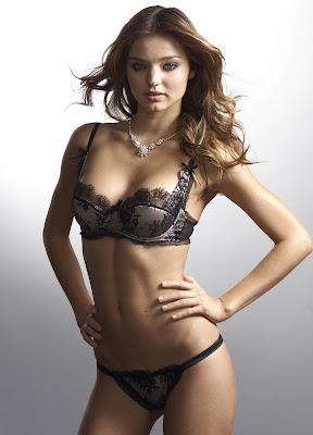 Miranda Kerr black lingerie Victoria's secret HD Wallpaper