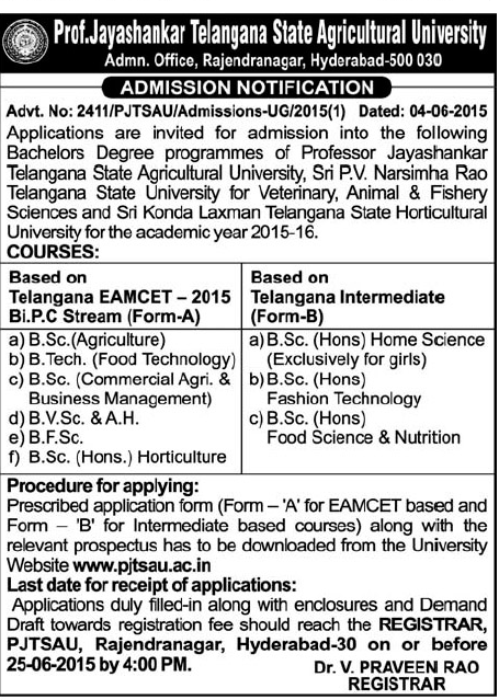 Telangana Veterinary University 2015, Telangana Horticultural university 2015, PJTSAU Allotments Selected list 2015