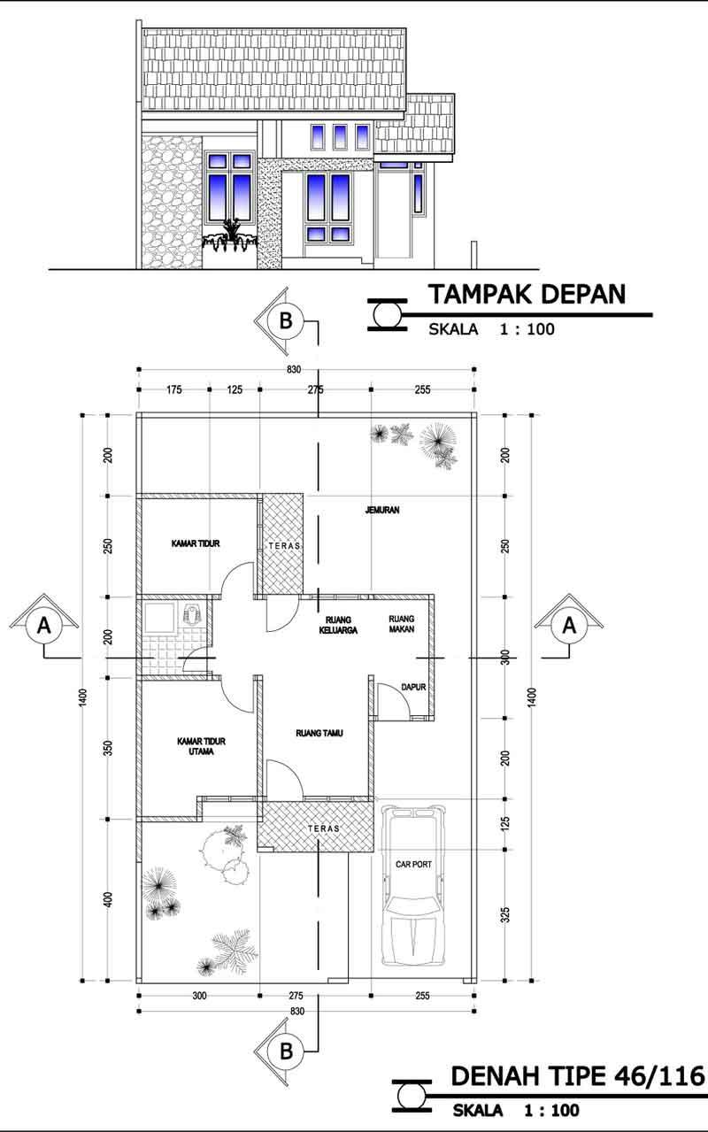 contoh denah renovasi kpr btn type rumah idaman type