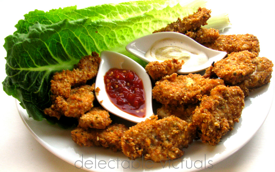 baked chicken nuggets flaxmeal breading