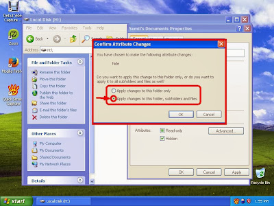 Learn how to hide files and folders in windowsXP step12