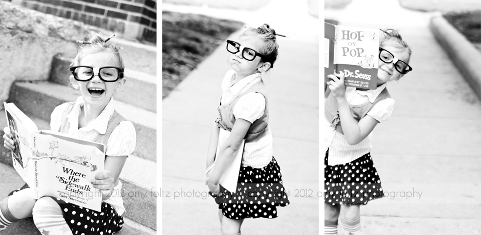 photo of girl with books and glasses - Clinton Indiana photographer