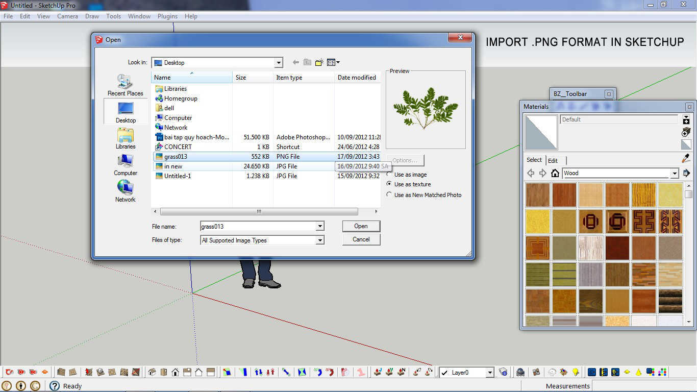 Winskyserinarchsketch making grass in sketchup for Sketchup import