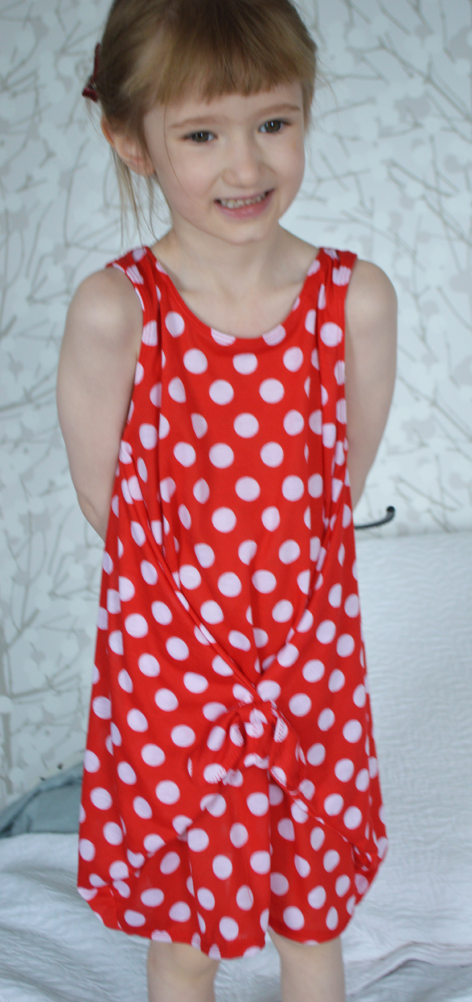 Red Polka Dot Knit Dress sewn by Cicely Ingleside #madeforkidsmonth