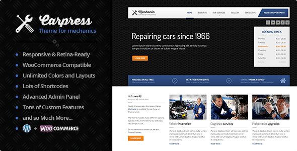 car shop WordPress theme