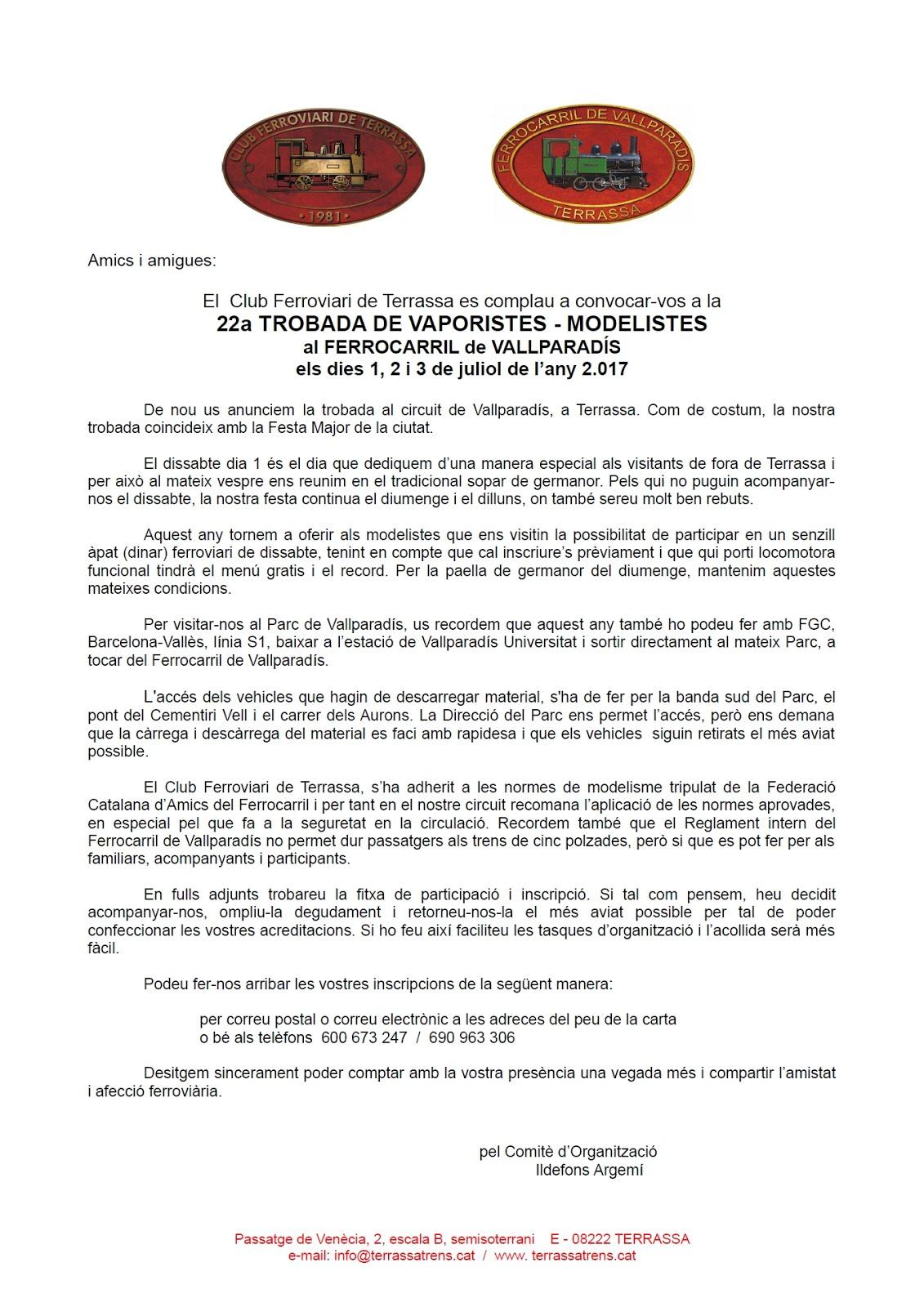 22a. Trobada de Vaporistes i Modelistes - Convocatòria.