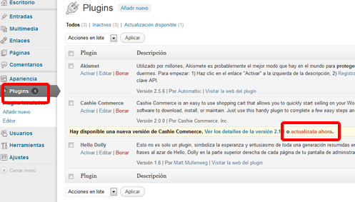 actualización para un plugin WordPress