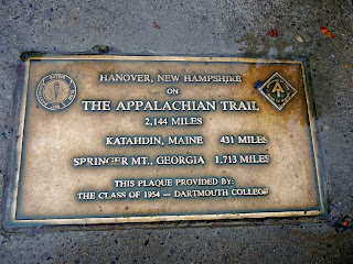 The Appalachian Trail marker on the Dartmouth campus in Hanover, New Hampshire