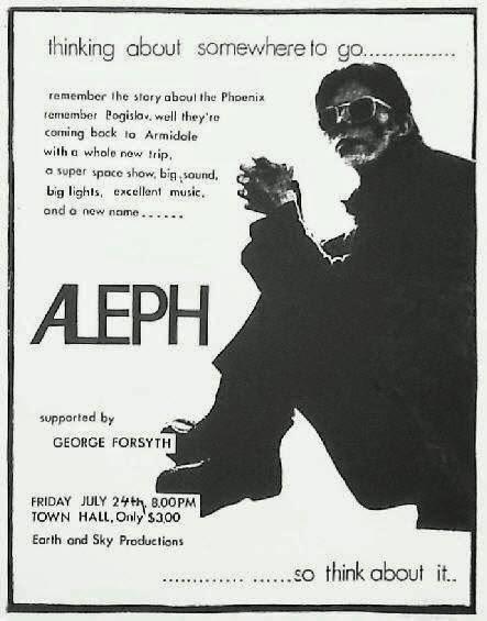 """""""Aleph"""" foi uma banda de prog sinfônico formada no início de 1974 em Sydney, Austrália. Mudou-se mais tarde para a costa norte da Nova Gales do Sul, essa conexão do """"Aleph"""" com o norte foi feita por """"Ron Carpenter"""", """"Dave Froggatt"""" e """"Dave Highet"""", todos eles ex-membros da banda """"Bogislav"""" formada na cidade de Armidale.  """"Aleph"""" era inicialmente uma banda de seis membros que realizou um repertório todo autoral utilizando Mellotrons, moogs, sintetizador Oberheim e elaborados efeitos de guitarra, juntamente com os instrumentos tradicionais do rock, a música da banda durante os primeiros anos era uma pura influência do """"Yes"""", """"Genesis"""" e """"King Crimson"""". Neste contexto, a banda, juntamente com """"Sebastian Hardie"""", foi a pioneira do prog na Austrália. No final de 1974 """"Aleph"""" gravou seis músicas no """"Sydney's Albert's Studios"""", no mesmo lugar que o """"AC / DC"""" gravou também seu álbum de estréia. Curiosamente existia uma conexão entre as duas bandas através do baterista """"Ron Carpenter"""" que tinha saído recentemente do """"AC / DC"""" depois de ter passado grande parte (1973 e 1974) tocando na primeiras formações (AC / DC e Aleph mais tarde ainda tocaram juntos em um show no Sydney Haymarket em 1976). Ao final de 1974 Aleph também começou a fazer shows nos arredores de Sydney, e ao longo dos próximos anos, cada vez mais construindo uma bela sequência através de seu nível elevado de musicalidade. A banda também garantiu um contrato com a """"Warner Brothers"""" nesse período. Embora a reputação do """"Aleph"""" como uma das principais bandas prog do país, estes primeiros anos foram muito difíceis, com uma série de fatores que conspiraram contra a possibilidade de um sucesso nacional. O mais grave foi entre 1976/77 em uma turnê nacional da banda que, infelizmente, resultou em uma significativa perda financeira. A qualidade da gravação do álbum de estréia, """"Surface Tension"""", também foi considerada inaceitável pela banda, que posteriormente, pediu a """"Warner Brothers"""", que lhes permitissem voltar a g"""