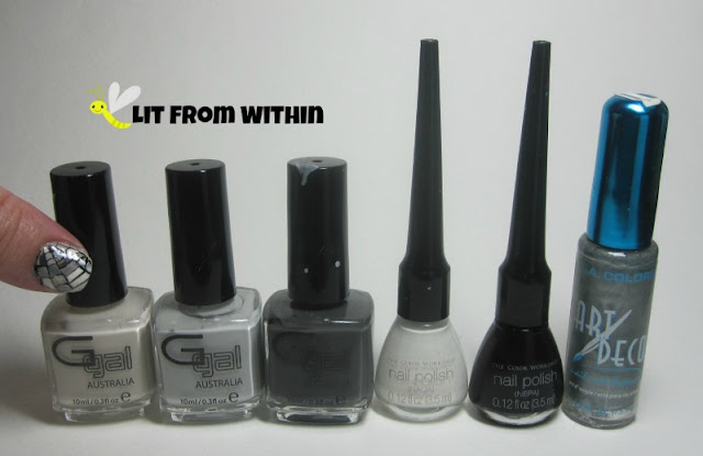 Bottle shot:  Glitter Gal Nuddy Nude, Chuck A Wobbly, and Big Smoke, and stripers in white, black, and silver.