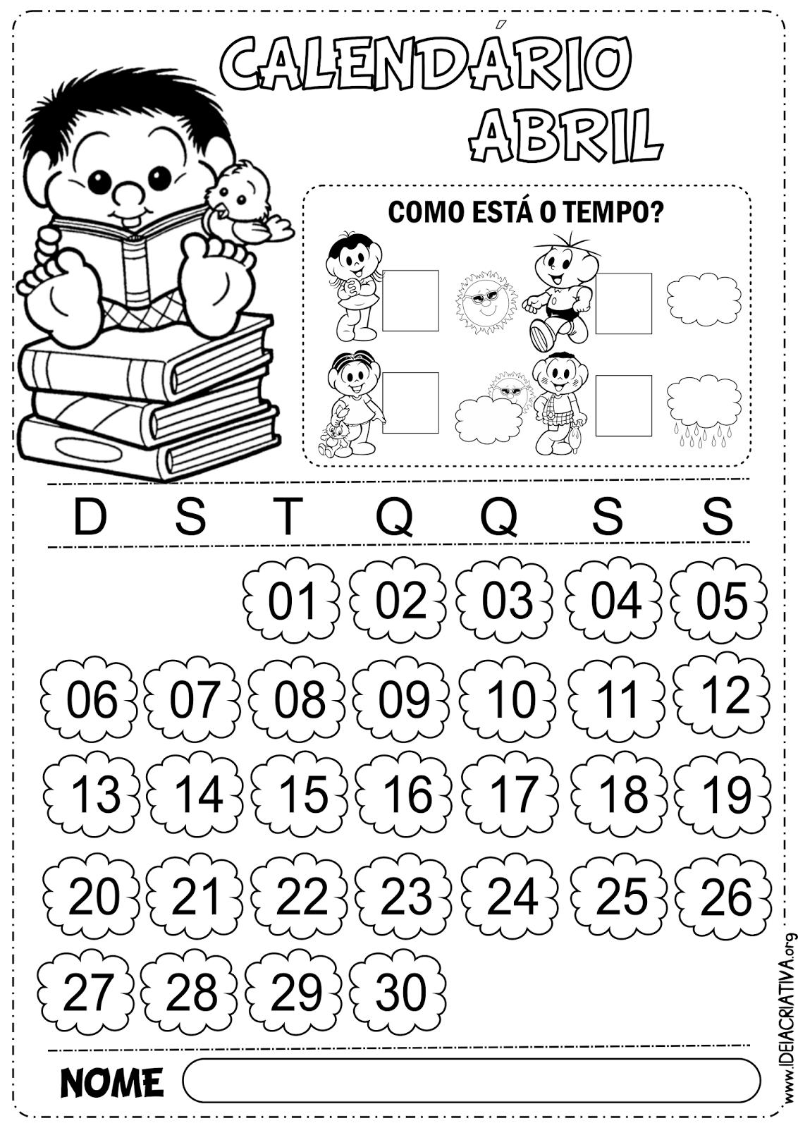 Calendários Abril Turma da Mônica 2014