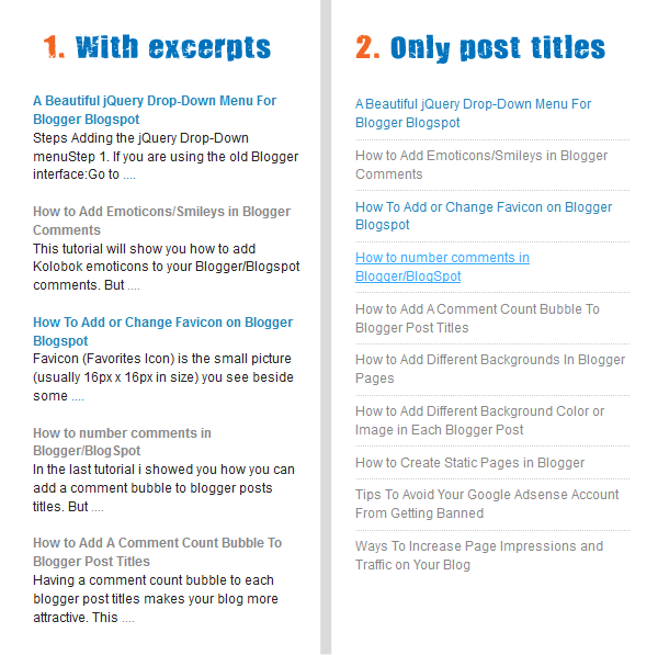 Simple Recent Posts Widget for Blogger Blogspot Site