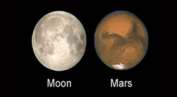 Diperkirakan Bulan Dan Mars Sama Besar