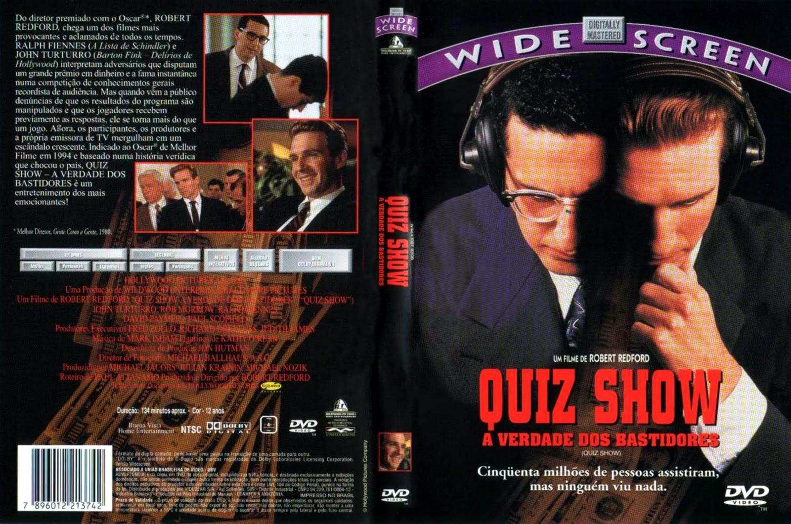 Capa DVD Quiz Show A Verdade Dos Bastidores